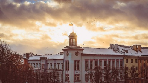 Здание Нарвского горуправления и мэрии.  Архивное фото, автор - Илья Смирнов