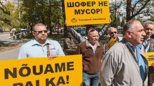 В Нарве прошел пикет недовольных водителей автобусов.  Автор фото - Илья Смирнов
