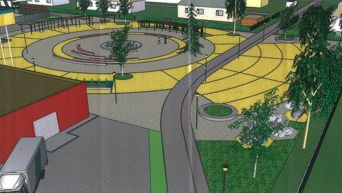 На центральной площади Кивиыли запланирован наряду с местами для отдыха и пешеходными дорожками и общественный рынок.