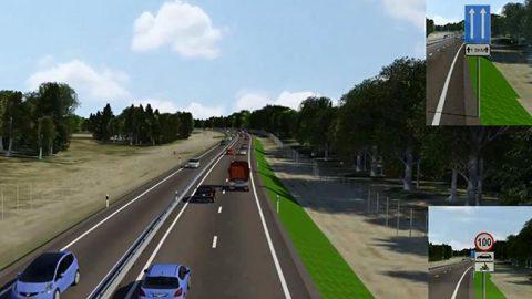 На шоссе 2+1 направления движения разделят ограждения. Дополнительная полоса движения планируется попеременно на обоих направлениях движения.
