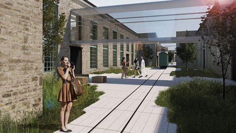 Вид на внутренний двор и соединяющую два крыла здания галерею.