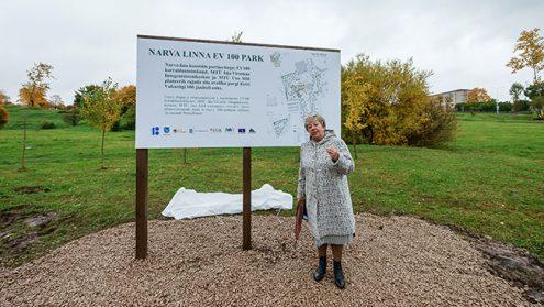 Людмила Морина стоит перед новым инфостендом, выступая гидом по пустырю, который радикально преобразится в 2018 году. Она совершенно счастлива, потому что создание нового парка - лучшая работа для городского садовника.