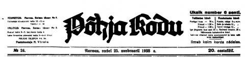 """Фрагмент первого листа газеты """"Põhja Kodu"""" от 25 февраля 1938 года."""
