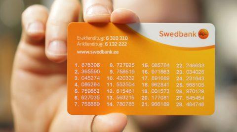 Банковская карта с паролями (Swedbank)